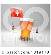 Clipart Of A 3d Beer Mug Character Holding A Swiss Flag And Giving A Thumb Up Over Gray Royalty Free Illustration
