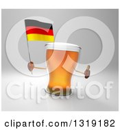 Clipart Of A 3d Beer Mug Character Holding A German Flag And Giving A Thumb Up On Gray Royalty Free Illustration