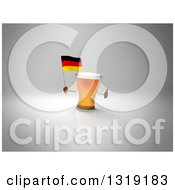 Clipart Of A 3d Beer Mug Character Holding A German Flag And Giving A Thumb Up On Gray 2 Royalty Free Illustration