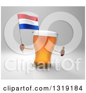 Clipart Of A 3d Beer Mug Character Holding A Dutch Flag And Giving A Thumb Up On Gray Royalty Free Illustration