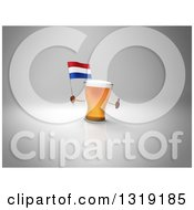 Clipart Of A 3d Beer Mug Character Holding A Dutch Flag And Giving A Thumb Up On Gray 2 Royalty Free Illustration