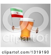 Clipart Of A 3d Beer Mug Character Holding An Iranian Flag And Giving A Thumb Up Over Gray Royalty Free Illustration