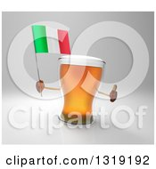 Clipart Of A 3d Beer Mug Character Holding An Italian Flag And Giving A Thumb Up On Gray Royalty Free Illustration