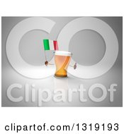 Clipart Of A 3d Beer Mug Character Holding An Italian Flag And Giving A Thumb Up On Gray 2 Royalty Free Illustration