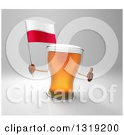 Clipart Of A 3d Beer Mug Character Holding A Polish Flag And Giving A Thumb Up On Gray Royalty Free Illustration