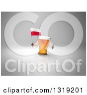 Clipart Of A 3d Beer Mug Character Holding A Polish Flag And Giving A Thumb Up On Gray 2 Royalty Free Illustration