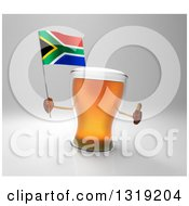 Clipart Of A 3d Beer Mug Character Holding A South African Flag And Giving A Thumb Up On Gray Royalty Free Illustration