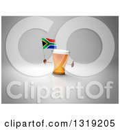 Clipart Of A 3d Beer Mug Character Holding A South African Flag And Giving A Thumb Up On Gray 2 Royalty Free Illustration