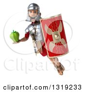 Clipart Of A 3d Young Male Roman Legionary Soldier Flying With A Shield And Green Bell Pepper Royalty Free Illustration