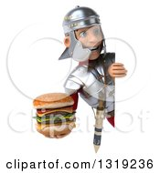 Clipart Of A 3d Young Male Roman Legionary Soldier Holding A Double Cheeseburger And Looking Around A Sign Royalty Free Illustration