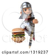 Clipart Of A 3d Young Male Roman Legionary Soldier Holding A Double Cheeseburger Around A Sign Royalty Free Illustration
