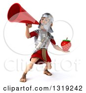 Clipart Of A 3d Young Male Roman Legionary Soldier Holding A Strawberry And Announcing With A Megaphone Royalty Free Illustration
