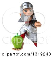 Clipart Of A 3d Young Male Roman Legionary Soldier Holding A Green Bell Pepper Around A Sign Royalty Free Illustration