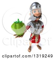 Clipart Of A 3d Young Male Roman Legionary Soldier Holding Up A Green Bell Pepper Royalty Free Illustration