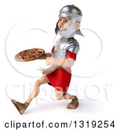 Clipart Of A 3d Young Male Roman Legionary Soldier Holding A Pizza And Speed Walking To The Left Royalty Free Illustration