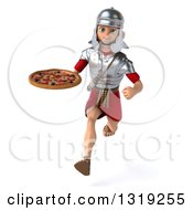 Clipart Of A 3d Young Male Roman Legionary Soldier Holding A Pizza And Sprinting Royalty Free Illustration