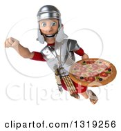 Clipart Of A 3d Young Male Roman Legionary Soldier Holding A Pizza And Flying 2 Royalty Free Illustration