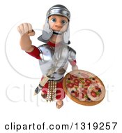 Clipart Of A 3d Young Male Roman Legionary Soldier Holding A Pizza And Flying Royalty Free Illustration