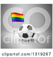 Clipart Of A 3d Soccer Ball Character Holding A Rainbow Flag And Giving A Thumb Up Over Gray Royalty Free Illustration