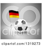 Clipart Of A 3d Soccer Ball Character Giving A Thumb Up And Holding A German Flag On Gray Royalty Free Illustration