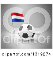 Clipart Of A 3d Soccer Ball Character Holding A Dutch Flag And Giving A Thumb Up On Gray Royalty Free Illustration
