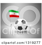 Clipart Of A 3d Soccer Ball Character Holding An Iranian Flag And Giving A Thumb Up On Gray Royalty Free Illustration