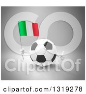 Clipart Of A 3d Soccer Ball Character Holding An Italian Flag And Giving A Thumb Up Over Gray Royalty Free Illustration