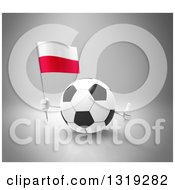 Clipart Of A 3d Soccer Ball Character Holding A Polish Flag And Giving A Thumb Up On Gray Royalty Free Illustration