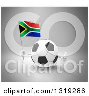 Clipart Of A 3d Soccer Ball Character Holding A South African Flag And Giving A Thumb Up On Gray Royalty Free Illustration