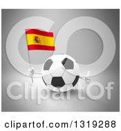 Clipart Of A 3d Soccer Ball Character Holding A Spanish Flag And Giving A Thumb Up On Gray Royalty Free Illustration