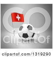 Clipart Of A 3d Soccer Ball Character Holding A Swiss Flag And Giving A Thumb Up On Gray Royalty Free Illustration