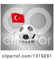 Clipart Of A 3d Soccer Ball Character Holding A Turkish Flag And Giving A Thumb Up On Gray Royalty Free Illustration