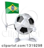 Clipart Of A 3d Soccer Ball Character Holding And Pointing To A Brazilian Flag Royalty Free Illustration