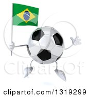 Clipart Of A 3d Soccer Ball Character Jumping And Holding A Brazilian Flag Royalty Free Illustration