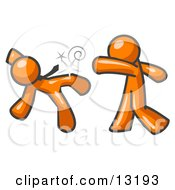 Orange Man Being Punched By Another Clipart Illustration