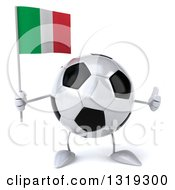 Clipart Of A 3d Soccer Ball Character Holding An Italian Flag And Giving A Thumb Up Royalty Free Illustration
