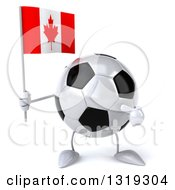 Clipart Of A 3d Soccer Ball Character Holding And Pointing To A Canadian Flag Royalty Free Illustration