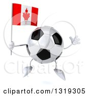 Clipart Of A 3d Soccer Ball Character Jumping And Holding A Canadian Flag Royalty Free Illustration