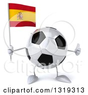 Clipart Of A 3d Soccer Ball Character Holding A Spanish Flag And Giving A Thumb Up Royalty Free Illustration