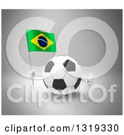 Clipart Of A 3d Soccer Ball Character Giving A Thumb Up And Holding A Brazilian Flag On Gray Royalty Free Illustration