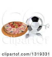 Clipart Of A 3d Soccer Ball Character Holding Up A Pizza And Thumb Down Royalty Free Illustration