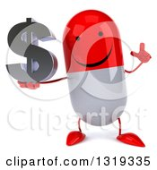 Clipart Of A 3d Happy Red And White Pill Character Holding Up A Finger And A Dollar Symbol Royalty Free Illustration
