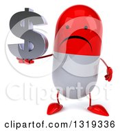 Clipart Of A 3d Unhappy Red And White Pill Character Holding A Dollar Symbol Royalty Free Illustration