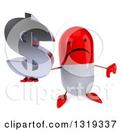 Clipart Of A 3d Unhappy Red And White Pill Character Holding Up A Thumb Down And A Dollar Symbol Royalty Free Illustration