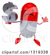 Clipart Of A 3d Unhappy Red And White Pill Character Jumping And Holding A Dollar Symbol Royalty Free Illustration
