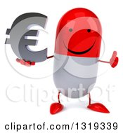 Clipart Of A 3d Happy Red And White Pill Character Giving A Thumb Up And Holding An Email Arobase At Symbol Royalty Free Illustration