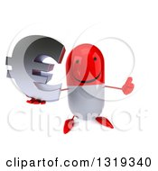 Clipart Of A 3d Happy Red And White Pill Character Holding Up A Thumb And An Email Arobase At Symbol Royalty Free Illustration