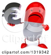 Clipart Of A 3d Unhappy Red And White Pill Character Holding And Pointing To An Email Arobase At Symbol Royalty Free Illustration