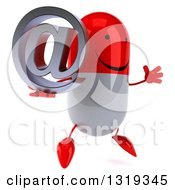 Clipart Of A 3d Happy Red And White Pill Character Facing Right Jumping And Holding An Email Arobase At Symbol Royalty Free Illustration