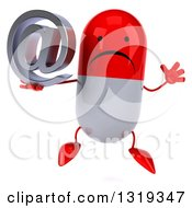 Clipart Of A 3d Unhappy Red And White Pill Character Jumping And Holding An Email Arobase At Symbol Royalty Free Illustration
